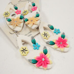 "SPECIAL 2"" Hawaiian Flower Look Fashion Earrings .27 ea pair"