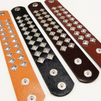 "9"" 4 Color Studded Strap Snap Closure Bracelets .58 ea"