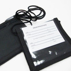 "Canvas 4"" X 4.25"" All Black Multi Function Travel ID Holder Necklace .56 ea"