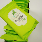 15 Sheet Make Up Remover Cleansing Towelettes  Green Tea .56 ea pk
