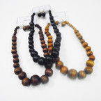 "16"" Chunky Wood Beaded Fashion Necklace Set .58 ea set"