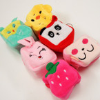 "2.5"" Square Animal Zipper Coin Purse w/ Key Chain .56 ea"