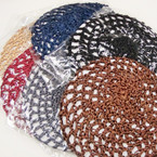 MIxed Dark Color Crochet Hair Nets 12 per pk .54 each