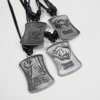 "16"" Adj.  DBL Blk Leather Cord Necklace w/ Sq. Zodiac Signs  .54 ea"