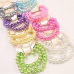 Great Value 3 Pk Glass Bead Stretch Bracelet & Earrings Set Pastels .54 ea set