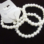 Great Value 3 Pk Glass Bead Stretch Bracelet & Earrings Set Cream .54 ea set