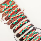 Leather Bracelets w/ Fimo Leaf Rasta Colors .54 ea