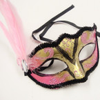 Asst Color Handcrafted Party Masks w/ Side Feather .56 each
