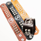 "9"" 4 Color Studded Strap Snap Closure Bracelets w/ Peace Sign  .58 ea"