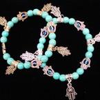 Gold/Silver Hamsa Charm Bracelet w/ Turq. Stonel Beads .54 each