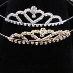 Gold/Silver Rhinestone Tiara Headbands Clear Stones (336) .65 each