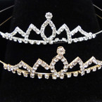Gold/Silver Rhinestone Tiara Headbands Clear Stones (331) .65 each
