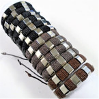 Teen Leather Bracelet w/ Cord & Silver Squares .56 each