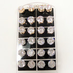 Big 12MM Clear Crystal Stone Stud Earrings on Display Card .56 ea pr