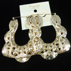 "Big 3"" Metal Pincatch Fashion Earrings Gold .54 ea pair"