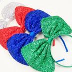 "Big 8"" Glitter Bow Novelty Headbands .56 each"