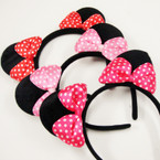 Black Mouse Ear  Headbands w/ Satin Mimi Poka Dot Bows .56 each