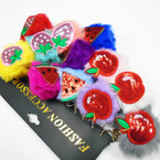 "NEW  2.5"" Pom Pom Keychains w/ Sequin & Glitter Fruits .54 each"