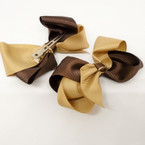 "3.5-4"" Two Tone Khaki & Brown Gator Clip Fashion Bow .27 ea"