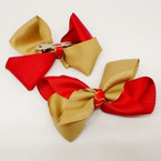 "3.5-4"" Two Tone Khaki & Red Gator Clip Fashion Bow .27 ea"