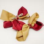 "3.5-4"" Two Tone Khaki & Burgundy Gator Clip Fashion Bow .27 ea"