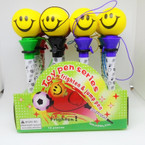 Happy Face Pop Off Ball Pen Unit 12 per display .50 each