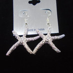 Silver Metal Starfish Earring w/ Clear Crystal Stones .54 each