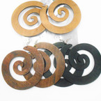 "3"" Spiral Wood Fashion Earrings 3 colors .54 each"