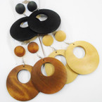"2 Pair Wood Earring Set Donut Style 2.5"" Round plus Wood Studs .54 per set"