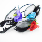 Fashion Net Headband w/ Flower & Feathers .56 each
