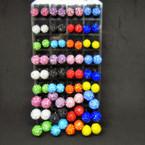 Crystal Stone Fireball Stud Earrings 36 pair display .18 each pair
