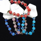 Crystal Fireball & Crystal Bead Stretch Fashion Bracelets .56 each