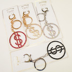 Gold & Silver w/ Crystal Stone BLING  $$  Keychain/Purse Clip .58 each