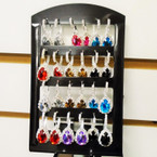Rhinestone Euro Wire  Earrings w/ Pear Shaped Gemstone 12 pair display .54 ea