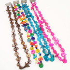 "30"" Lg  Fashion Coco Wood Disc Necklaces Mixed Colors .65 each"
