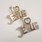 "2"" Gold & Silver Crystal Stone I Love Jesus Broach .56 each"