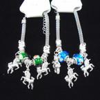 Pandora Style Bracelet Silver w/ Unicorn Charms   .56 each