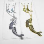 "Gold & Silver Necklace Set w/ 3"" Mermaid Pendant .54 per set"