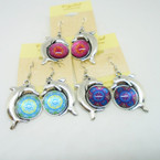 Silver Dolphin Earring w/ Round Design .54 each