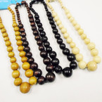 "18"" 4 Color Wood Bead Necklace Set .56 each set"
