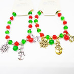 Crystal Beaded Christmas Stretch Charm Bracelets Gold/Silver .56 each