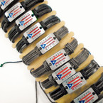 Teen Leather Bracelet w/ Cast Puerto Rico Flag Logo Blk/Browns .54 ea