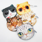 "4"" Soft Feel Asst CAT  Face Coin Purse w/ Zipper    .54 ea"