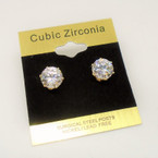 8MM Clear Stone Cubic Zirconia  Gold Prong Earrings