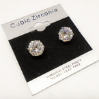 8MM Clear Stone Cubic Zirconia  Silver  Prong Earrings