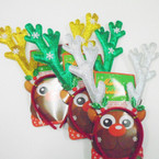 "7"" Glitter Reindeer Antler Headbands w/ Snowflakes 12 per pk .85 each"