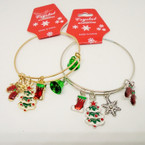 Adjustable Gold & Silver Wire Christmas Charm Bracelets .54 each