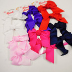 "4 Pack 3.5"" Tail Style Gator Clip Bows Asst Colors .54 per set"