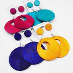 2 Style Bright Color Wood Earrings plus Bonus Button Earring .54 per set