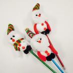 "9"" Novelty Christmas Pens w/ Glitter Hats & 3.5"" Figure on Top .60 each"